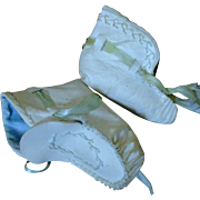 Cream Pale Blue Feather Stitched Baby Booties