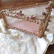 1920's-30's Glass Hanky Box Velvet Silk French Hankies