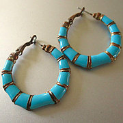 Great Pair Turquoise Bamboo Enamel on Copper Hoops