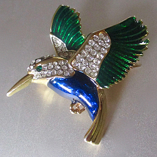 Enameled Pave Kingfisher A & S