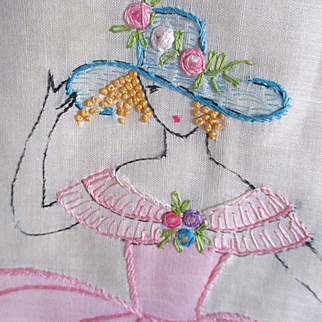 Art Deco Beautiful Embroidered Crescent Pillow Woman Flowers