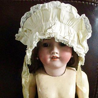 Darling Edwardian/Deco Ruffled Doll Bonnet With Ribbons