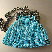 Victorian Beaded Turquoise Doll Purse Silver Repousse Handle