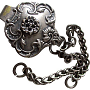 Victorian Silver Plate Repousse Chatelaine Sash Clip With Chains