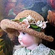 Beautiful Flowered Wide Brim Doll Straw Hat