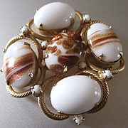 Large Beautiful Milk Glass Goldstone Hobe Brooch