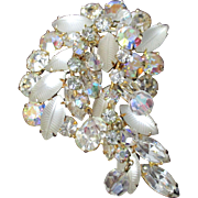 Large Gorgeous 60's Cha Cha Brooch Dangling Crystals