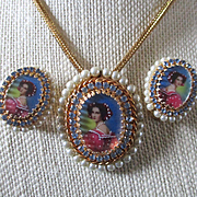 Hobé Cameo Set Portrait Hand Painted Accents