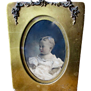 Victorian Gilt Frame Beautiful Baby Hand Colored
