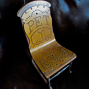 """Antique Golden Oak Bentwood Doll's """"Pet"""" Chair Stamped May 21 1872"""