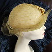 1920's Golden Horsehair Woven Cloche Satin Ribbon