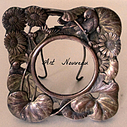 Tiny Cast Bronze Art Nouveau Frame Birds Lily Pads With Portrait