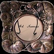 Tiny Cast Bronze Art Nouveau Frame Birds Lily Pads With Portrait