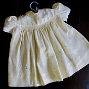 Silk Baby Or Doll Dress Smocking Embroidered Flowers