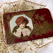 Small Doll Sized Victorian Note Pad Cover Beautiful Girl In Lace