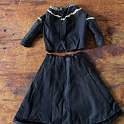 19C Twill Walking Suit Smaller Doll Plus Chemise