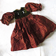 Darling Antique Silk Velvet Doll Dress