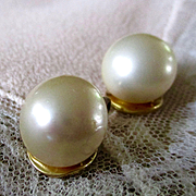 Sterling Gold Wash Cultured Pearl Earrings