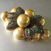 Art Deco Era Large Glass Pearls Rhinestones