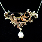 Victorian/Edwardian Vermeil Sterling Diamonds Pearl Brooch Pendant 14K Chain