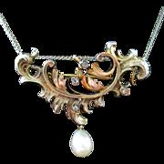 Victorian/Edwardian Vermeil Sterling Diamonds Pearl Brooch Pendant 14K Chain