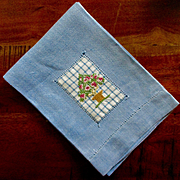Sweet Blue Linen Hand Towel Needlepoint Inset