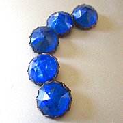 5 Sapphire Blue Faceted Glass Buttons