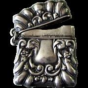 Antique Sterling Repousse Chatelaine Vesta/ Match or Stamp Safe