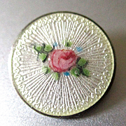 Tiny Sterling Enameled Guilloche Rosebud Brooch For Doll