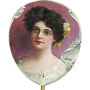 Victorian Paper Fan Beautiful Woman The New Home Sewing Machine Co.