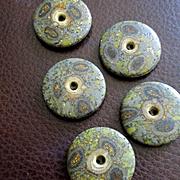 Gorgeous Old Art Buttons Paisleys Gold Flecks