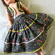 50's Factory Outfit Full Skirt Bolero Great Print