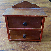 Old Red Paint Dollhouse Bureau