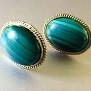 14K Malachite Cabochons Pierced Earrings