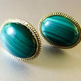 14K Malachite Cabochons Pierced Earrings