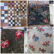 Great Old Quilt Pieces for Doll Quilt Roses Polka Dots Etc