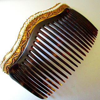 14K Edwardian Hair Comb Graduated Pearls J E Caldwell Presentation Box