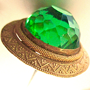 Stunning Victorian Large Green Etruscan Revival Hatpin