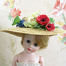Beautiful 50's Silk Poppy Flowers Straw Hat Fits Cissette