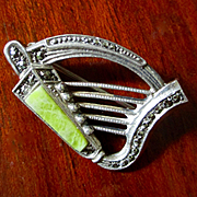 Art Deco Sterling Celtic Harp Connemara Marble Several English Hallmarks