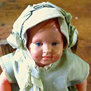 """German Schildkröt Turtle Mark 14 1/2 Celluloid Baby 5"""" Original Outfit"""