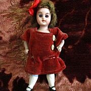 "French German 3.5"" Bisque Girl Original Velvet Dress"