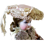 Antique French Pale Pink Lace Fashion Doll Hat