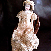 Lovely Antique French Tambour Lace Boudoir Gown For Fashion Doll Bonnet
