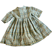 Early Homespun Plaid Doll Dress