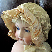 French Tambour Lace Velvet Ruffled Small Doll Bonnet