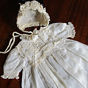 Small Doll Christening Gown Ruffled Bonnet