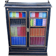 Very Rare German Miniature Book Case Candy Container Glass Front Dollhouse