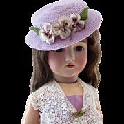 Vintage Lilac Doll Hat Velvet Pansies