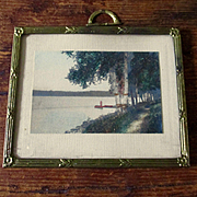 Fred Thompson Miniature Hand Colored Dollhouse Lake Picture In Frame
